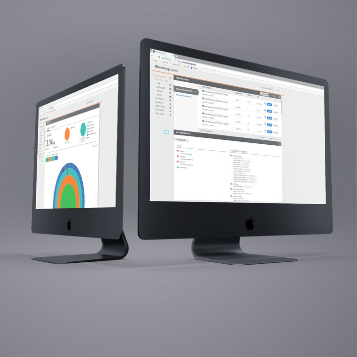 Bloomberg Vault is a responsive web application that allows big data management from anywhere